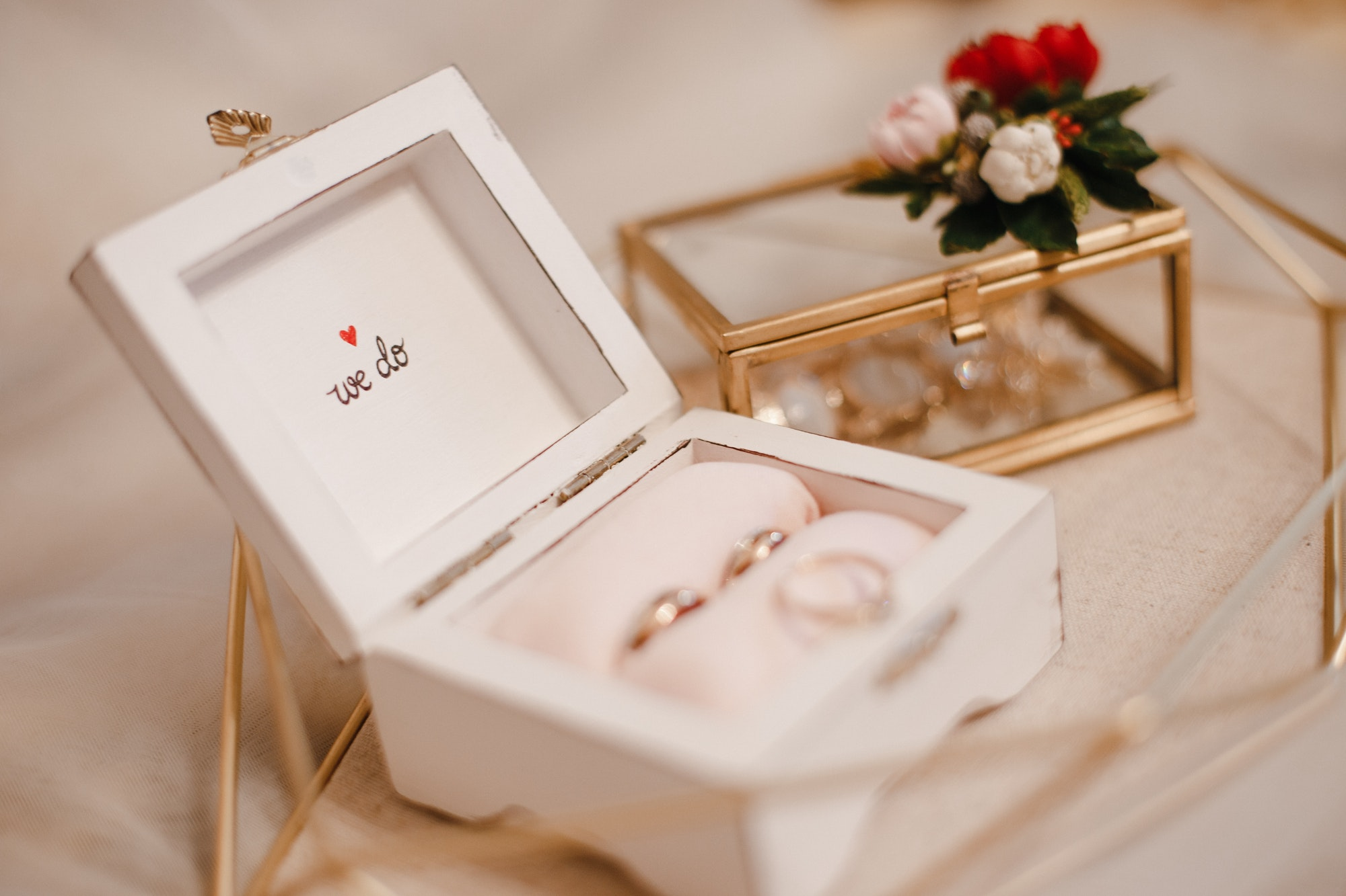 a box with wedding rings